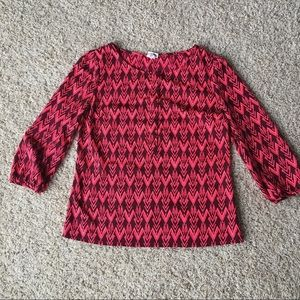 Maroon and neon coral top